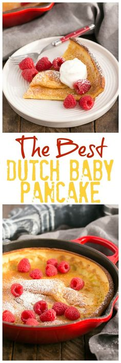 Best Dutch Baby Pancake | A puffed breakfast dish topped with berries, whipped cream and powdered sugar! #pancakes