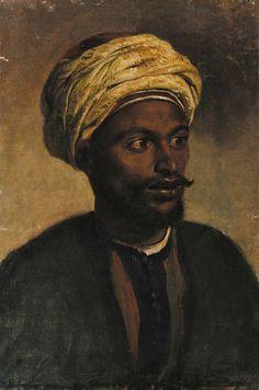 Oil painting of a Moorish Man with a headdress.