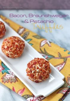 Bacon, Braunshweiger, & Pistachio Truffles | A Low Carb and Gluten Free Appetizer Recipe From I Breathe I'm Hungry