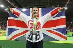 Bryony Page of Britain poses with her silver medal after the women's trampoline final