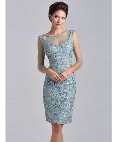 Osłona / kolumna klejnot 3/4 rękawem kolan koronki matka panny młodej sukienki - Vogue Belle