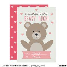 I Like You Beary Much Valentine Card