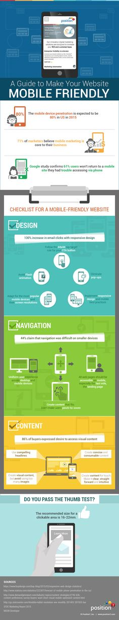 Is your website mobile-friendly? A checklist Infographic via Position 2 Mobile Marketing, Content Marketing, Digital Marketing, Mobile Friendly Website, Mobile Web Design, Your Website, Ux Design, Programming, Infographics
