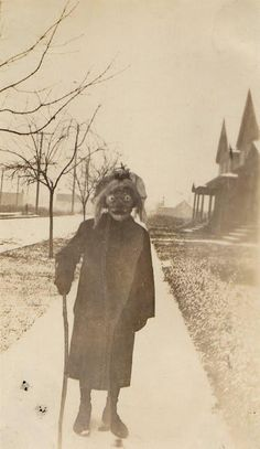 Patient wearing costume outside of Byberry Mental Asylum