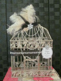 Great Gatsby Birdcage Wedding Card Holder with Ostrich Feather, pearls and bling. Card boxes are all the rage, decorate your gift table with a birdcage wedding card holder. Great Gatsby Themed Wedding, Gatsby Themed Party, Great Gatsby Wedding, 1920s Wedding, Art Deco Wedding, Dream Wedding, Wedding Ideas, Flapper Wedding, Birdcage Wedding