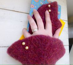 Felt fingerless gloves knit wrist warmers mauve fingerless gloves hand knit ready to ship winter wear women's gift idea accessory by SixthandDurianGifts