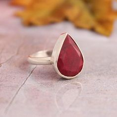 Ruby ring  Precious ring  Red ring  Tear drop ring  by Studio1980