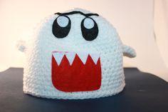 Boo Ghost Hat Inspired by Super Mario Custom Crochet Sizes Newborn to Adult. via Etsy. Crochet Crafts, Crochet Projects, Crochet Ideas, Crochet Bebe, Knit Crochet, Crochet Super Mario, Mario Bros., Mario Kart, Crochet Character Hats