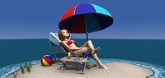 Aiko Toon 4 - Sunbathing in Beyond the Sea - rendered in 3Delight in DAZ Studio 4.9