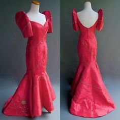 Satin Ball Gown Formal Regular Size Mermaid for Women Ramones, Philippines Dress, Modern Filipiniana Dress, Dance Costumes, Traditional Dresses, Pink Dress, Trendy Outfits, Ball Gowns, Couture