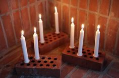 Fireplace Candlesticks: Old bricks with white candles by Anna Lidström Diy Candle Holders, Candle Lanterns, Candleholders, White Candles, Brick, Diys, Diy Projects, Diy Crafts, Crafty