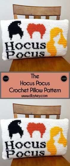 Spooky season is upon us -- the Hocus Pocus crochet pillow is the perfect way to add some flair to your decorating this holiday season. Bag Crochet, Crochet Fall, Crochet Home, Crochet Crafts, Crochet Projects, Crochet Ideas, Crochet Pillow Patterns Free, Crochet Quilt Pattern, Tapestry Crochet