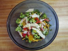 Diets can be boring.  We get tired of meat, cheese and eggs.  An easy variance is this one tonight.  Brocolli, red bell pepper, red grapes, english walnuts, avacodo, mandarin oranges, celery, sunflower seeds, shredded cheddar and monterry jack cheeses, zuchinni , cucumber and topped with the sweet poppy seed dressing.  Yum!  An easy day within the 1200 calorie allowance.