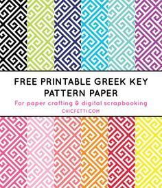 Free Printable Greek Key Digital Paper