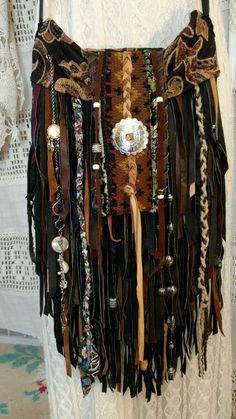 Handmade Leather Fringe Fabric Cross Body Bag Hippie Boho Western Purse tmyers 138.00