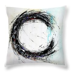 Black and white minimalist throw pillow
