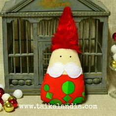 Cute christmas gnome made of upcycled vintage fabric by Taikalandia