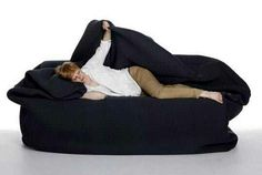 All in one body bean bag bed with attached pillow and blanket.