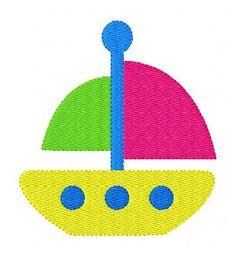 INSTANT DOWNLOAD Sail Boat Time Summer Machine Embroidery Design
