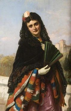 Spanish Lady with a Fan by John Bagnold Burgess; Collection: Shipley Art Gallery, Gateshead, Tyne and Wear, England Canvas Art Prints, Oil On Canvas, Spanish Gypsy, A4 Poster, Poster Prints, Spanish Woman, Spanish Ladies, English Artists, British Artists