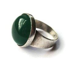 Vintage Niels Erik From chrysoprase modernist ring, Danish NE From 1960s design, Denmark modernism, Scandinavian silver Danish design. https://www.etsy.com/listing/291855677/vintage-niels-erik-from-chrysoprase