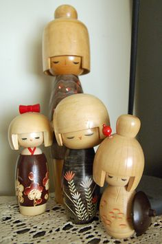 Cute kokeshi group japanese dolls