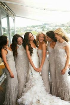 Wedding Photography: Feather Wedding Dresses and Beige Bridesmaid Dresses