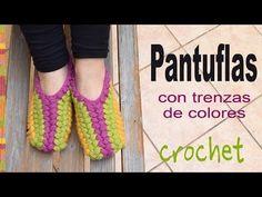 Pantuflas con trenzas puff de colores tejidas a crochet - Tejiendo Perú - YouTube