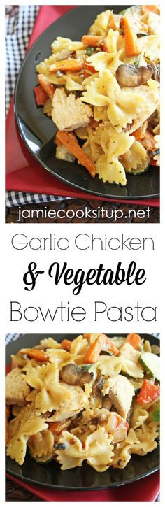 Garlic Chicken and Vegetable Bowtie Pasta: