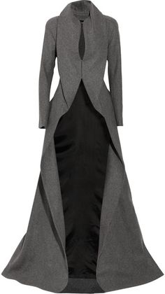 Gray full-length cashmere-blend coat with cutaway skirt and draped front. By Alexander McQueen