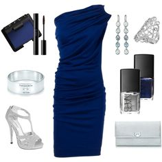 Slinky blue one shoulder dress, fab shoes, elegant jewelry; love everything about this outfit