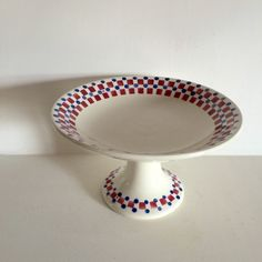 French Vintage Compote - Cake Stand - Retro 1930's - Geometric Check and Dot Motif by LaVieEnPastis on Etsy