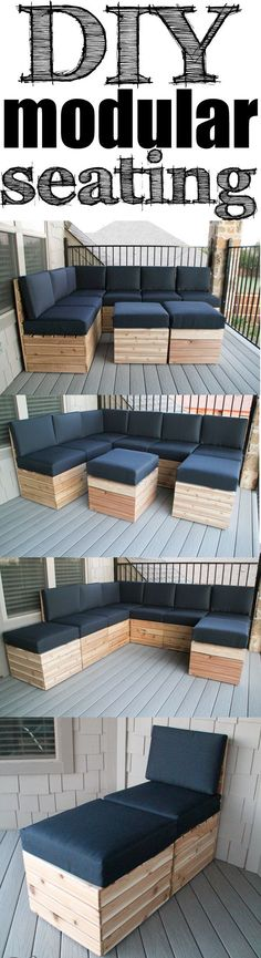 DIY Modular Seating Easy build and you can build itarrange it to fit your space Free Plans Pallet Furniture, Furniture Projects, Home Projects, Outdoor Furniture Sets, Hooker Furniture, Pallet Projects, Furniture Plans, Furniture Dolly, Backyard Furniture
