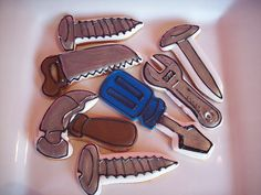 Tool sugar cookies by Caryn's Cakes Fondant Cookies, Cupcakes, Royal Icing Cookies, Cupcake Cookies, Mother's Day Cookies, Iced Cookies, No Bake Cookies, Sugar Cookies, Construction Cookies