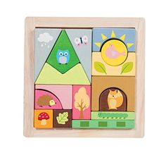 A chunky wooden woodland puzzle with 16 pieces illustrated with forest creatures.Complete with a wooden base board tray to sort and store the pieces.Part of the PETILOU collection from LE TOY VAN...