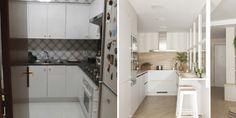 Moderna, con una claridad envidiable y diseñada para estar unida a la zona más vivida de la casa. Así es esta cocina tras una reforma llena de fantásticas ideas.#AntesDespués #AntesyDespués #CocinasActuales #CocinasBonitas Beautiful Kitchens, Kitchen Cabinets, Home Decor, Projects, Open Kitchens, Apartment Bathroom Design, White Colors, House Interiors, Live