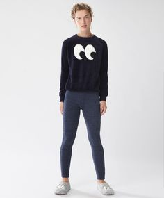 Fluffy navy leggings - Fleeces - Autumn Winter 2016 trends in women fashion at…