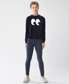 Legging fluffy bleu marine - Pyjamas Polaires - Dernières tendances Automne Hiver 2016 en mode femme chez OYSHO online : lingerie, vêtements de sport, pyjamas, bain, maillots de bain, bodies, robe de chambre, accessoires et chaussures.