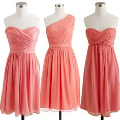 Coral bridesmaid dresses | J.Crew   I really like the variety styles and simplicity