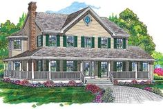 Houseplans.com Country / Farmhouse Front Elevation Plan #47-192