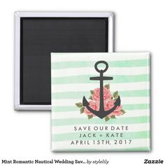 Mint Romantic Nautical Wedding Save Date Magnet Unique Save The Dates, Wedding Save The Dates, Save The Date Magnets, Save The Date Cards, Romantic Roses, Romantic Weddings, Destination Wedding, Wedding Planning, Wedding Ideas