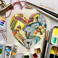 Art supplies❤️ #all_i_love #illustration #shapeofmyheart #art #artsupplies #creativity #inspiration #eatsleepdraw #painteveryday #painting #watercolor