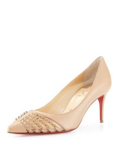 Baretta Studded 70mm Red Sole Pump, Nude/Light Gold by Christian Louboutin at Neiman Marcus.