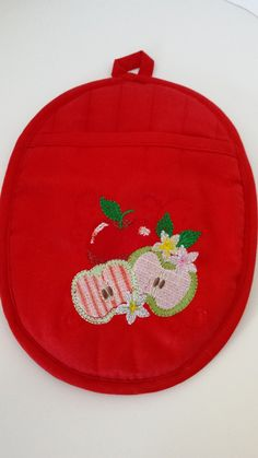 Oval Quilted Red Cotton Twill Pot Holder with Neoprene Back and Apple Embroidery by BreitWerk, $19.75 USD