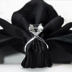 Cute for bridal shower // diamond ring napkin holder