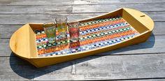 Glas mozaiek dienblad, Maya stijl, berkenhout op Etsy, 57,52 €