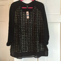 NWT Style & Co. Shimmer top size XL NWT by Style & Co. from Macy's, Black shimmer houndstooth top, back and sleeves are like a sweatshirt material, made of 70% cotton, 20% polyester and 10% rayon, the front panel is made of 97% polyester and 3% spandex, front design has sequins sown in it. From a smoke free home. Style & Co Tops