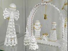 presepio Crochet Christmas Decorations, Christmas Angel Ornaments, Christmas Crochet Patterns, Crochet Ornaments, Crochet Flower Patterns, Christmas Nativity, Crochet Motif, Crochet Flowers, Christmas Crafts
