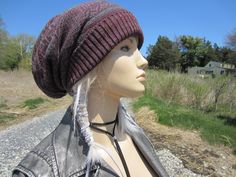 6079af07335 Big Slouchy Beanie Hat Burgundy Fair Isle Knit Maroon   Gray Cotton  Oversized Baggy Tam A1638