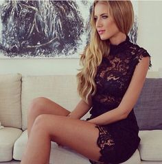 Maxi Lace  Dress in BLACK